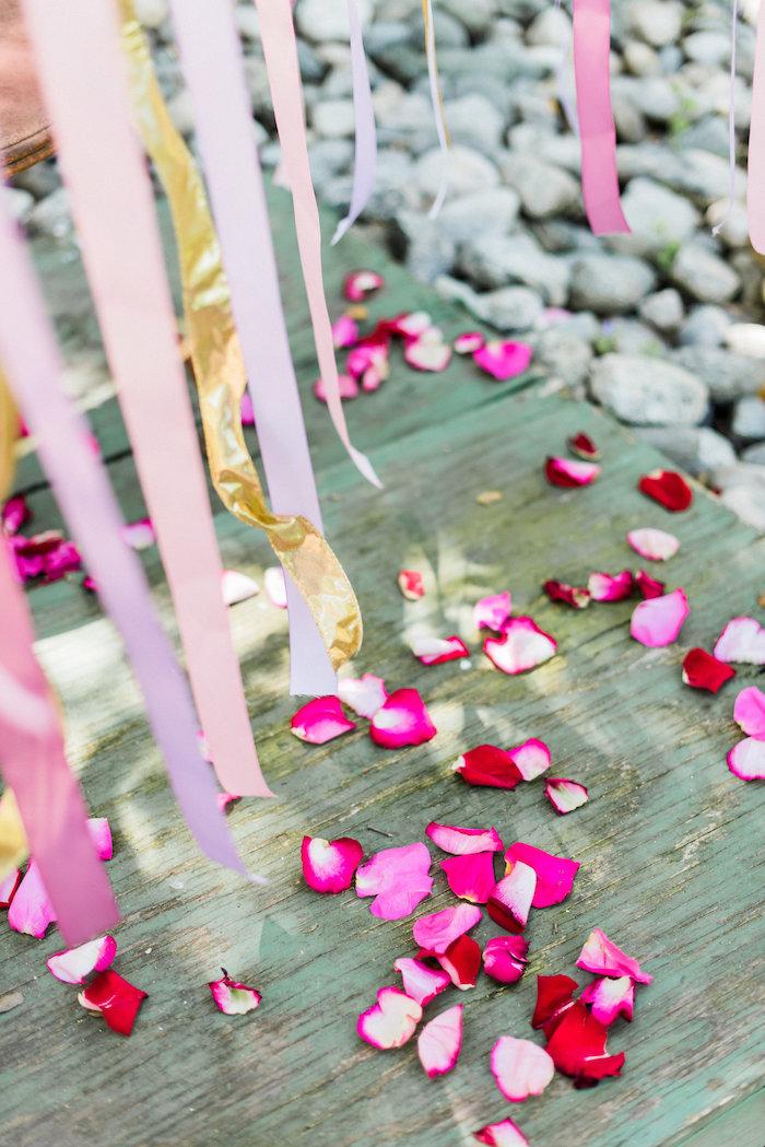 Rose petaled floor from an Enchanted Fairy Garden Birthday Party on Kara's Party Ideas | KarasPartyIdeas.com (8)