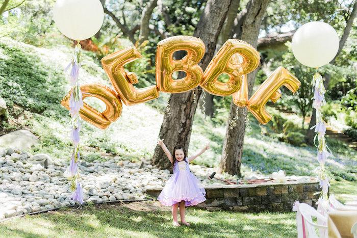 Balloon name arch from an Enchanted Fairy Garden Birthday Party on Kara's Party Ideas | KarasPartyIdeas.com (6)