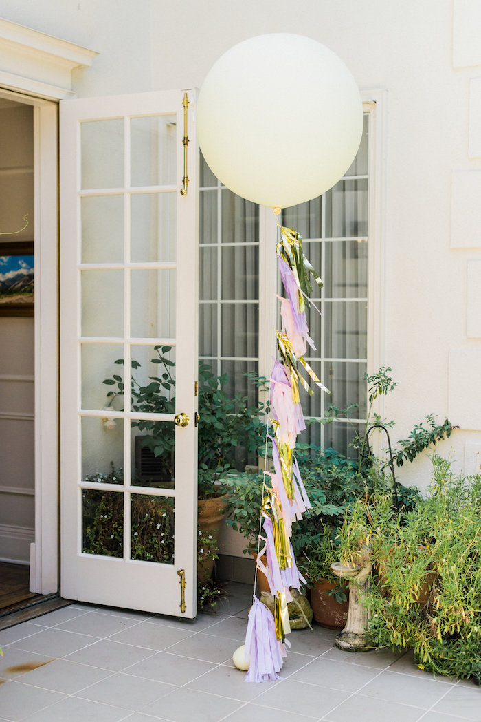 Jumbo balloon with tassel garland tail from an Enchanted Fairy Garden Birthday Party on Kara's Party Ideas | KarasPartyIdeas.com (39)