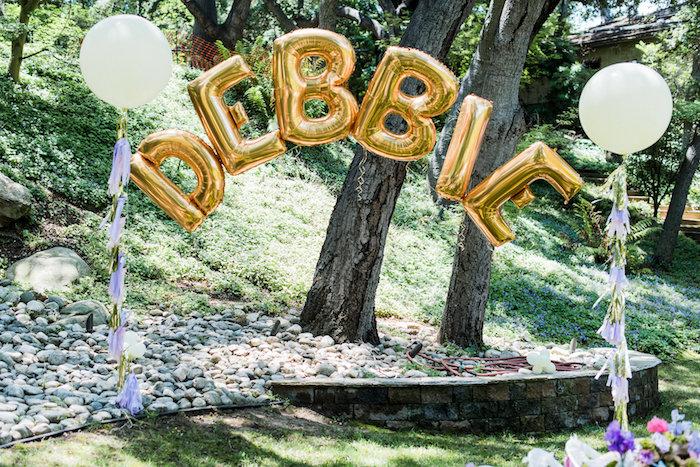 Mylar balloon name banner from an Enchanted Fairy Garden Birthday Party on Kara's Party Ideas | KarasPartyIdeas.com (37)