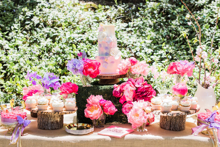 Garden Dessert Table From An Enchanted Fairy Garden Birthday Party On  Karau0027s Party Ideas | KarasPartyIdeas