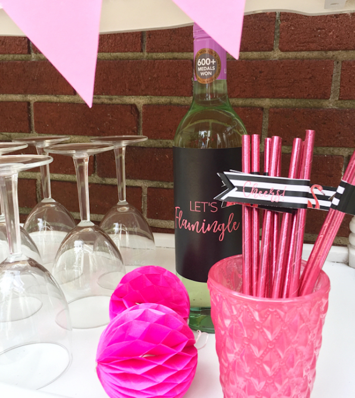 Pearl hot pink straws from a Flocktails and Friendship Flamingo Themed Ladies' Night on Kara's Party Ideas | KarasPartyIdeas.com (29)