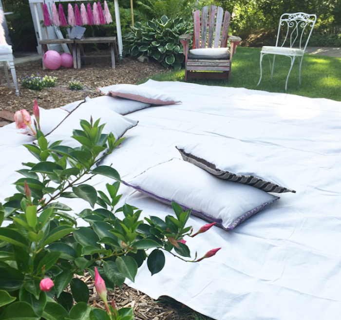 Blanket seating from a Flocktails and Friendship Flamingo Themed Ladies' Night on Kara's Party Ideas | KarasPartyIdeas.com (24)