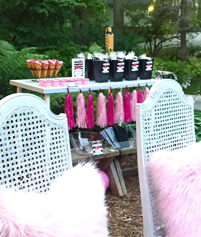 Snack table from a Flocktails and Friendship Flamingo Themed Ladies' Night on Kara's Party Ideas | KarasPartyIdeas.com (22)
