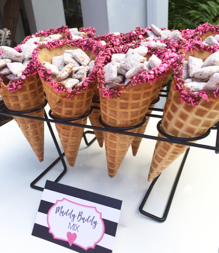 Muddy Buddy Mix Cones from a Flocktails and Friendship Flamingo Themed Ladies' Night on Kara's Party Ideas | KarasPartyIdeas.com (39)