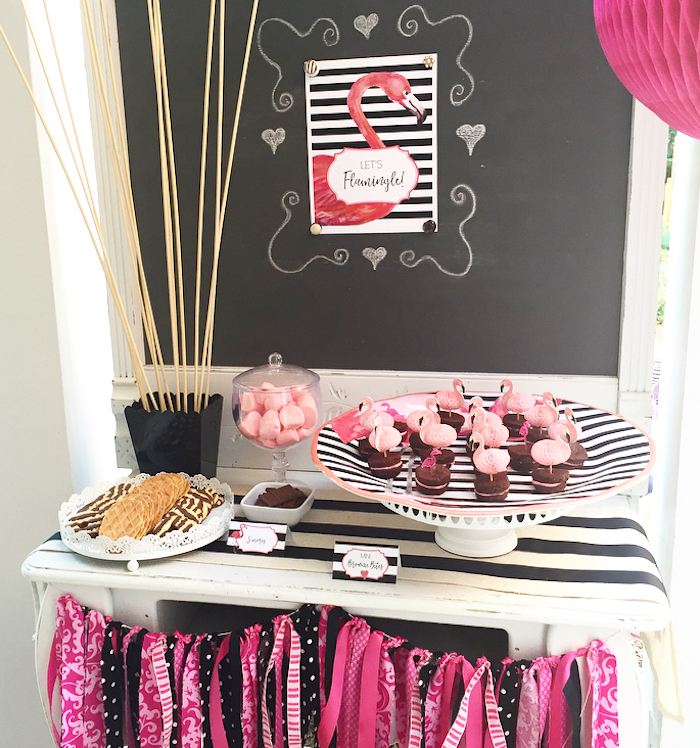 Flamingo sweet table from a Flocktails and Friendship Flamingo Themed Ladies' Night on Kara's Party Ideas | KarasPartyIdeas.com (19)