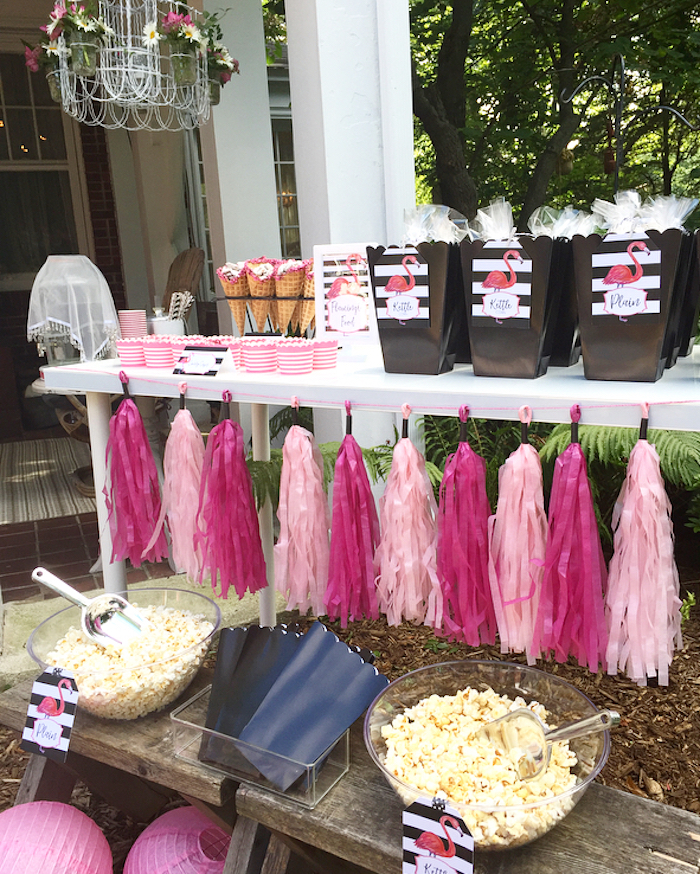 Sweet and snack table from a Flocktails and Friendship Flamingo Themed Ladies' Night on Kara's Party Ideas | KarasPartyIdeas.com (18)