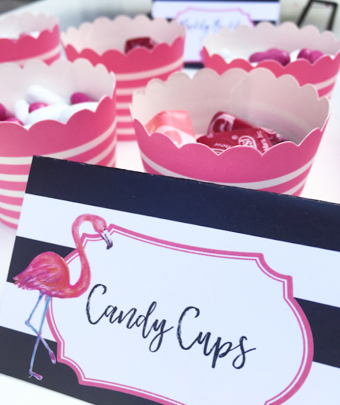 Candy cups from a Flocktails and Friendship Flamingo Themed Ladies' Night on Kara's Party Ideas | KarasPartyIdeas.com (17)