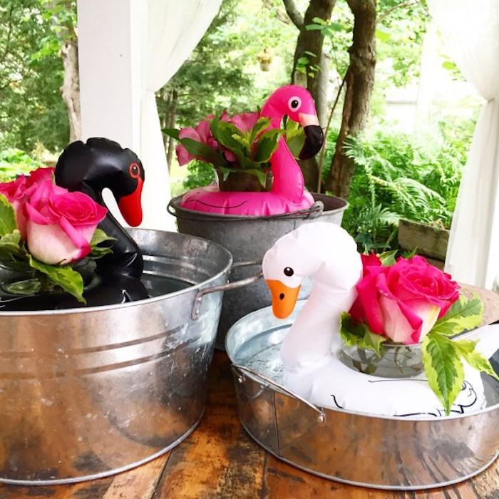 Floating flamingo centerpieces from a Flocktails and Friendship Flamingo Themed Ladies' Night on Kara's Party Ideas   KarasPartyIdeas.com (14)