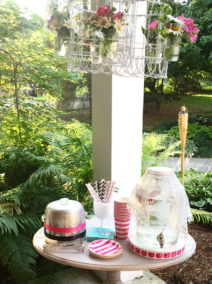 Partyware & beverage table from a Flocktails and Friendship Flamingo Themed Ladies' Night on Kara's Party Ideas | KarasPartyIdeas.com (10)