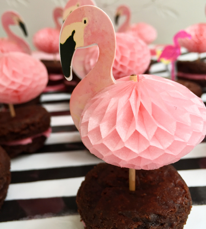 Flamingo Brownie Bite from a Flocktails and Friendship Flamingo Themed Ladies' Night on Kara's Party Ideas | KarasPartyIdeas.com (6)