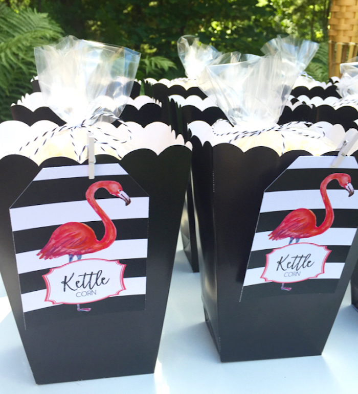 Flamingo popcorn boxes from a Flocktails and Friendship Flamingo Themed Ladies' Night on Kara's Party Ideas | KarasPartyIdeas.com (36)