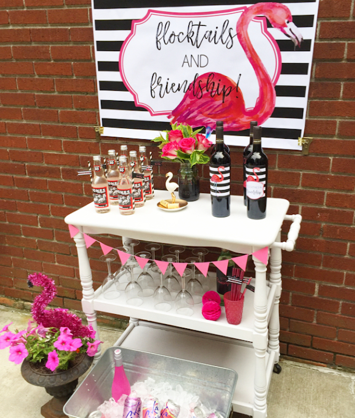 Beverage table from a Flocktails and Friendship Flamingo Themed Ladies' Night on Kara's Party Ideas | KarasPartyIdeas.com (34)