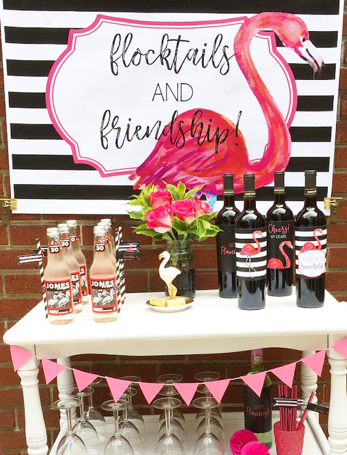 Beverage table from a Flocktails and Friendship Flamingo Themed Ladies' Night on Kara's Party Ideas | KarasPartyIdeas.com (33)