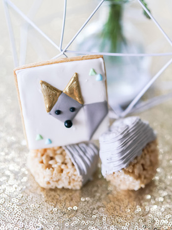 Geometric Fox Cookie and Krispie Treats from a Geometric Fox Birthday Party on Kara's Party Ideas | KarasPartyIdeas.com (16)