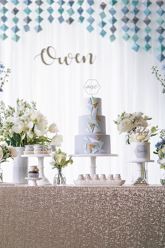 Cake table from a Geometric Fox Birthday Party on Kara's Party Ideas | KarasPartyIdeas.com (9)