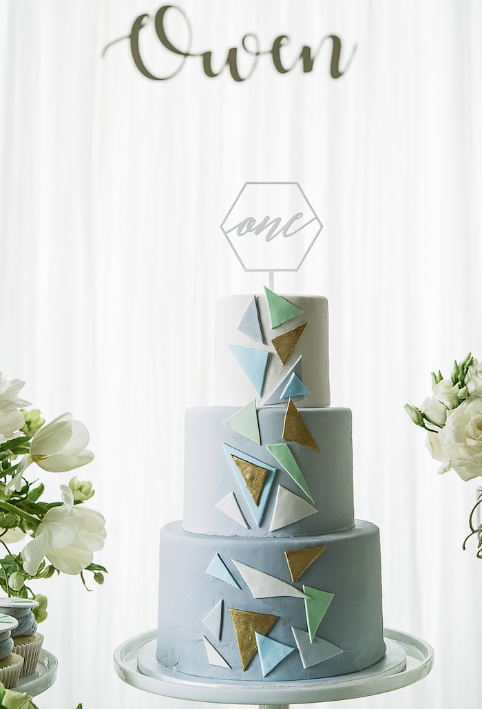 Geometric cake from a Geometric Fox Birthday Party on Kara's Party Ideas | KarasPartyIdeas.com (26)