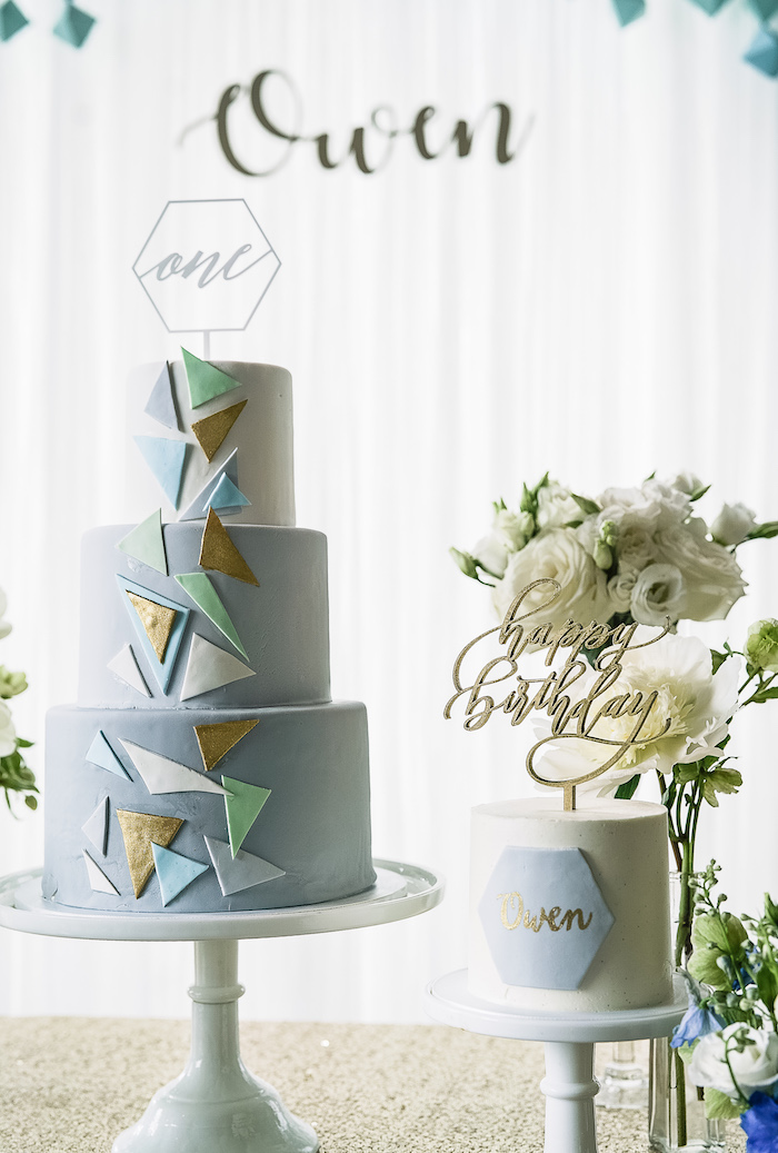 Cakes from a Geometric Fox Birthday Party on Kara's Party Ideas | KarasPartyIdeas.com (24)