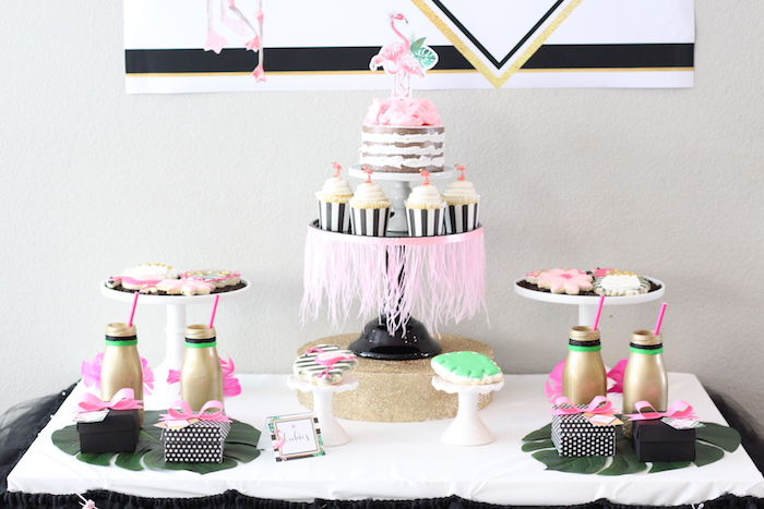 Dessert tablescape from a Glam Flamingo Bridal Shower on Kara's Party Ideas | KarasPartyIdeas.com (20)