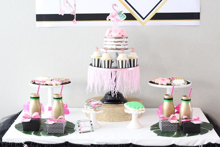 Dessert tablescape from a Glam Flamingo Bridal Shower on Kara's Party Ideas | KarasPartyIdeas.com (20)