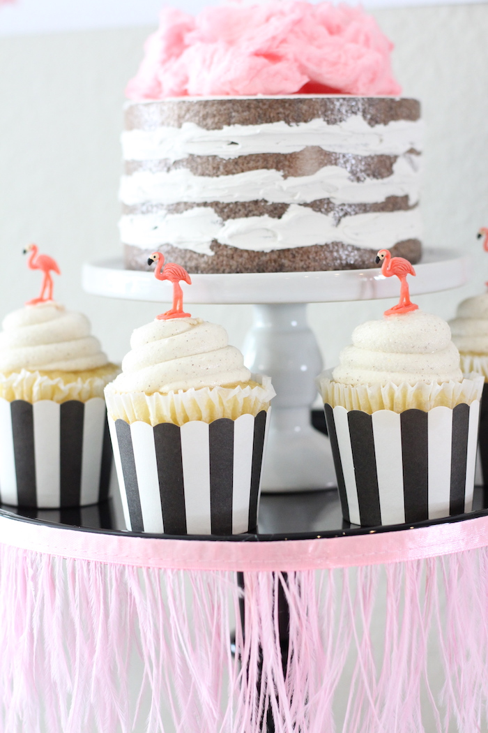 Flamingo cupcakes from a Glam Flamingo Bridal Shower on Kara's Party Ideas   KarasPartyIdeas.com (17)