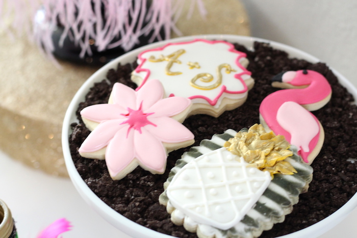 Tropical cookies from a Glam Flamingo Bridal Shower on Kara's Party Ideas | KarasPartyIdeas.com (16)