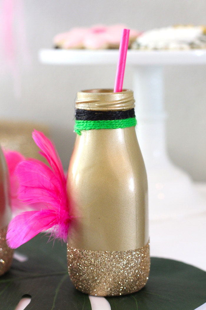 Flamingo drink bottle from a Glam Flamingo Bridal Shower on Kara's Party Ideas | KarasPartyIdeas.com (15)