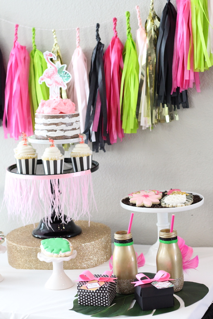 Sweet table detail from a Glam Flamingo Bridal Shower on Kara's Party Ideas | KarasPartyIdeas.com (14)