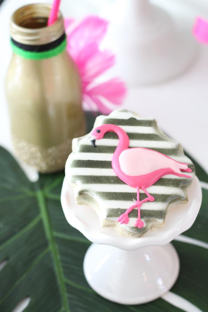 Flamingo cookie from a Glam Flamingo Bridal Shower on Kara's Party Ideas | KarasPartyIdeas.com (12)