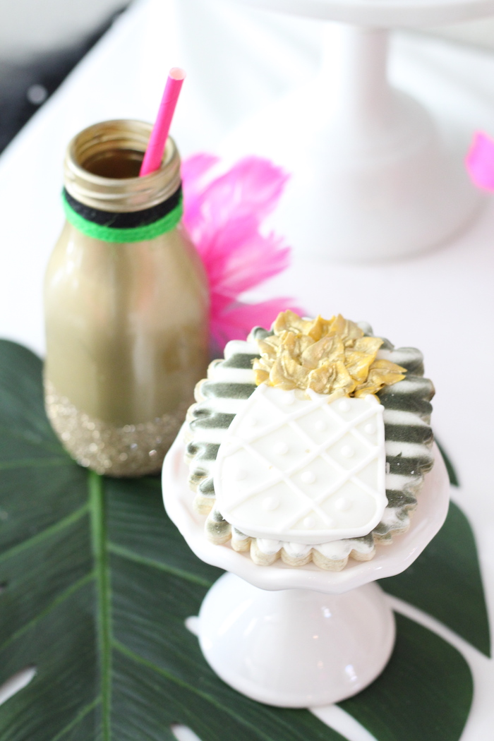Pineapple cookie from a Glam Flamingo Bridal Shower on Kara's Party Ideas | KarasPartyIdeas.com (11)