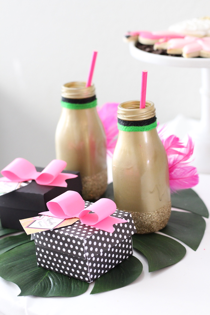 Drinks and favors from a Glam Flamingo Bridal Shower on Kara's Party Ideas | KarasPartyIdeas.com (9)