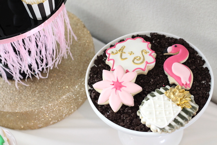 Cookies from a Glam Flamingo Bridal Shower on Kara's Party Ideas | KarasPartyIdeas.com (7)
