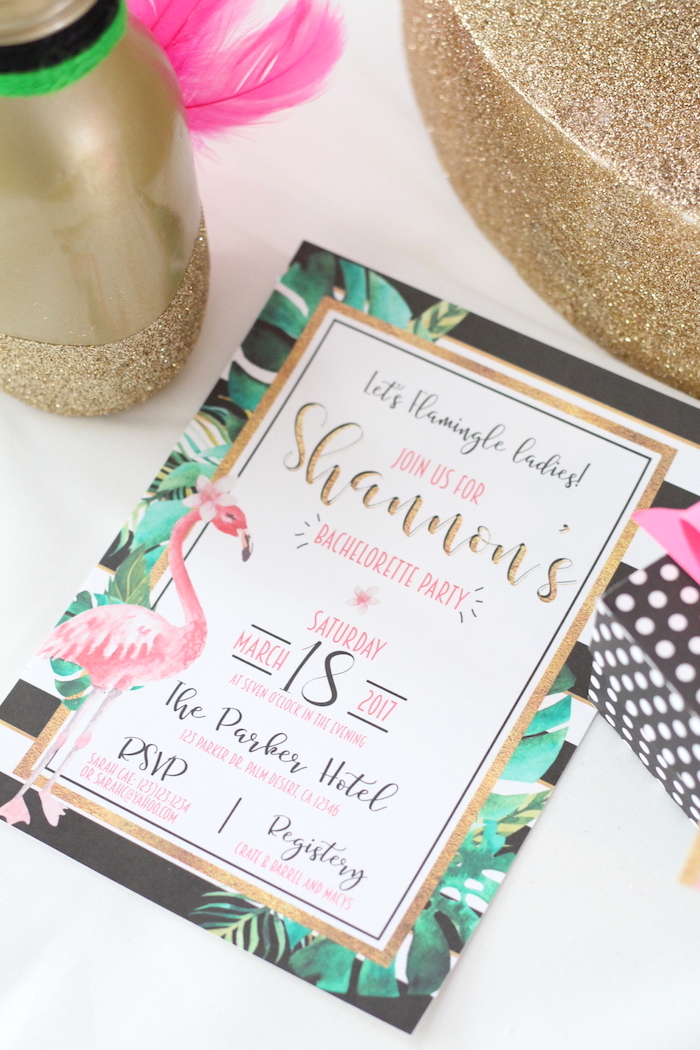 Flamingo Party Invite from a Glam Flamingo Bridal Shower on Kara's Party Ideas | KarasPartyIdeas.com (6)