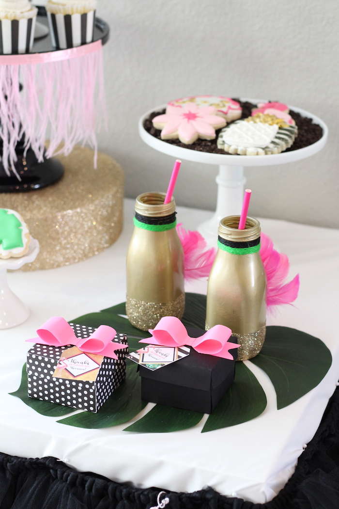 Flamingo drink bottles and favor boxes from a Glam Flamingo Bridal Shower on Kara's Party Ideas | KarasPartyIdeas.com (27)