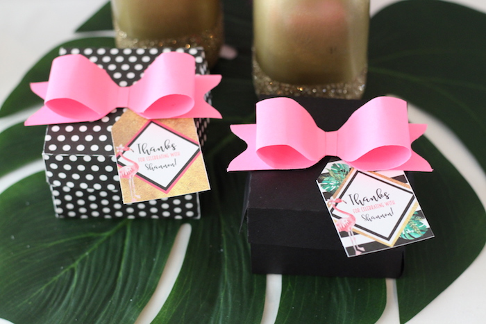 Favor boxes from a Glam Flamingo Bridal Shower on Kara's Party Ideas | KarasPartyIdeas.com (26)