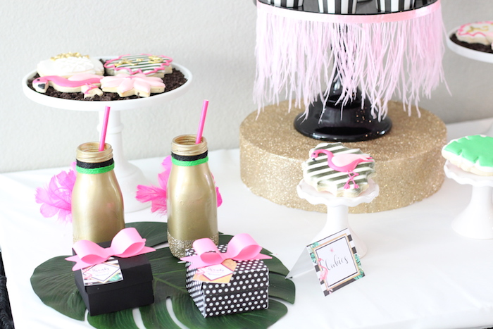 Cake table detail from a Glam Flamingo Bridal Shower on Kara's Party Ideas | KarasPartyIdeas.com (24)