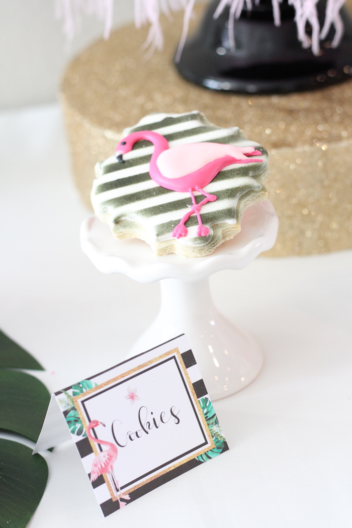 Flamingo cookies from a Glam Flamingo Bridal Shower on Kara's Party Ideas | KarasPartyIdeas.com (23)