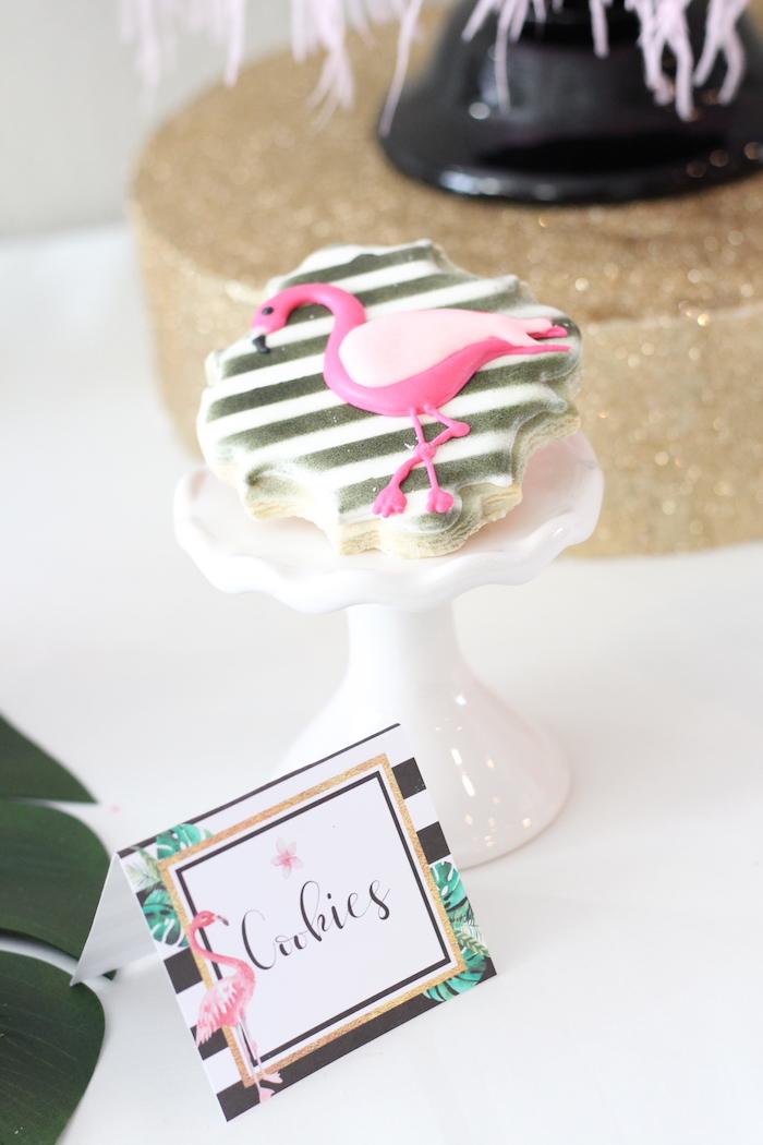 Flamingo cookies from a Glam Flamingo Bridal Shower on Kara's Party Ideas | KarasPartyIdeas.com (23)