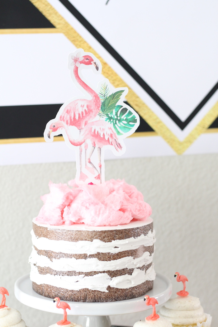 Flamingo cake from a Glam Flamingo Bridal Shower on Kara's Party Ideas | KarasPartyIdeas.com (21)