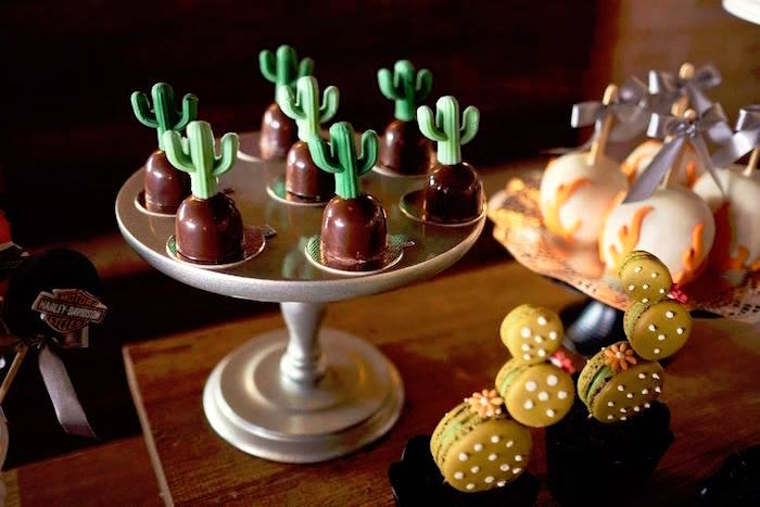 Cactus truffles from a Harley Davidson Birthday Party on Kara's Party Ideas | KarasPartyIdeas.com (14)