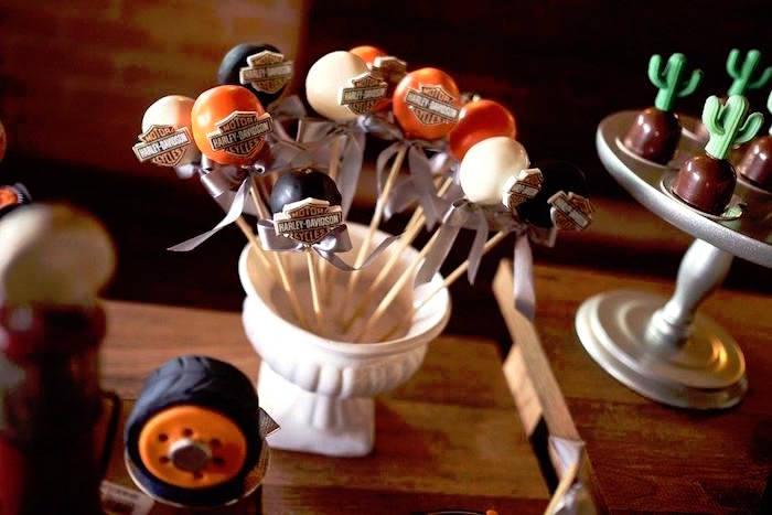 Cake pops from a Harley Davidson Birthday Party on Kara's Party Ideas | KarasPartyIdeas.com (11)