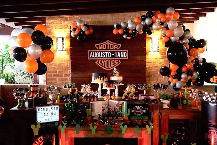 Dessert table from a Harley Davidson Birthday Party on Kara's Party Ideas | KarasPartyIdeas.com (7)