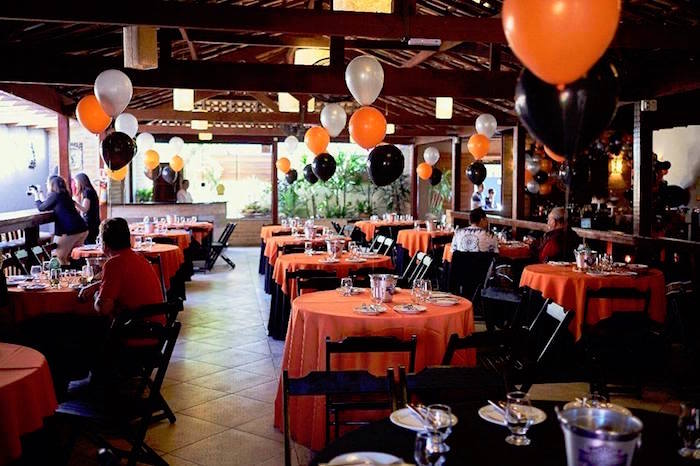 Guest tables + partycape from a Harley Davidson Birthday Party on Kara's Party Ideas | KarasPartyIdeas.com (25)