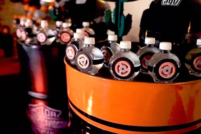 Tire bottles from a Harley Davidson Birthday Party on Kara's Party Ideas | KarasPartyIdeas.com (19)