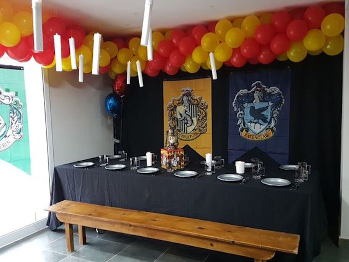 Great Hall Guest Table from a Hogwarts Harry Potter Birthday Party on Kara's Party Ideas | KarasPartyIdeas.com (26)