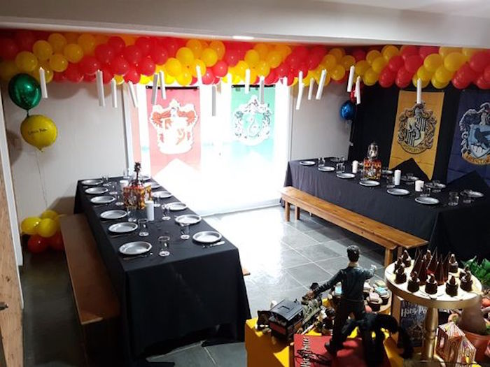 Great hall guest tables from a Hogwarts Harry Potter Birthday Party on Kara's Party Ideas | KarasPartyIdeas.com (21)