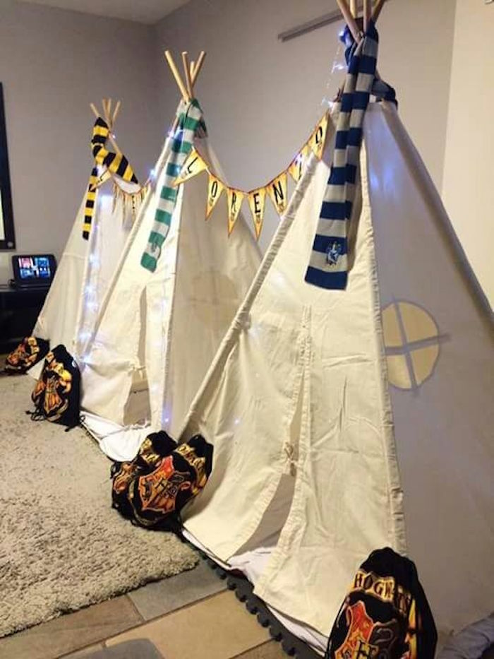 House tents from a Hogwarts Harry Potter Birthday Party on Kara's Party Ideas | KarasPartyIdeas.com (18)
