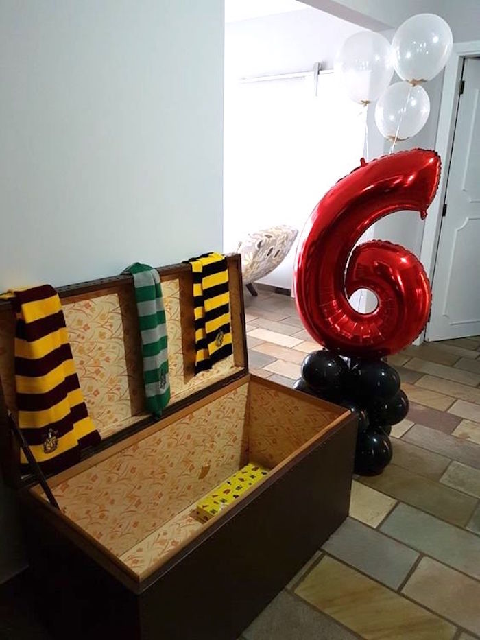 Trunk from a Hogwarts Harry Potter Birthday Party on Kara's Party Ideas | KarasPartyIdeas.com (12)