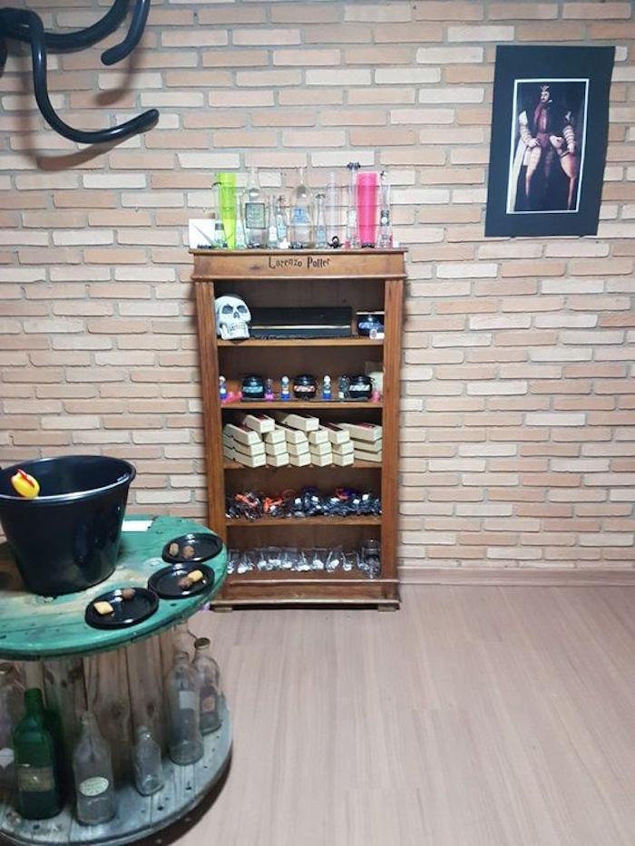 Favor shelf from a Hogwarts Harry Potter Birthday Party on Kara's Party Ideas | KarasPartyIdeas.com (11)