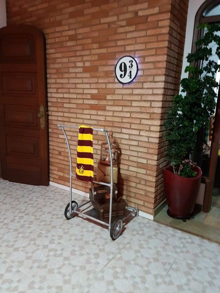 Platform 9 3/4 from a Hogwarts Harry Potter Birthday Party on Kara's Party Ideas | KarasPartyIdeas.com (6)